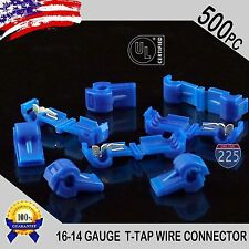 500 Pack T-Taps Blue 16-14 AWG Gauge Quick Slide Connectors Car Audio Alarm UL