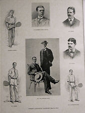 Lawn Tennis Champions HOBART CAMPBELL CHASE HOVEY HALL SEARS 1891Print Matted
