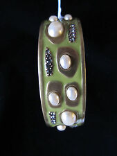 NEW ST JOHN KNIT WOMENS BRACELET DESIGNER OLIVE GREEN COLOR BANGLE