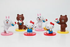 Toy Friend Hello Kitty x Line Friends Figure Collection Completed Set 6pcs