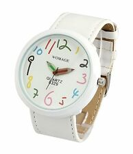 White Unisex Leather Watch Mens Womens Big Dial Large Modern Face Unique Relojes