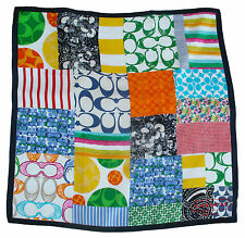 Coach Hamptons Weekend Patchwork Square Silk Scarf Wrap 27 inches