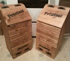 Kitchen Vegetable Box Wooden Potato Onion Bin Rustic Storage Space Saver Wood