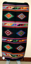 """Hand Woven Wool Throw Rug Southwestern Western 32""""x 64"""" Tapestry #414"""