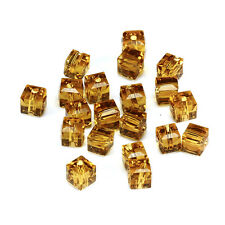 20pcs l-amber 6mm Faceted Square Cube Cut glass crystal Spacer beads