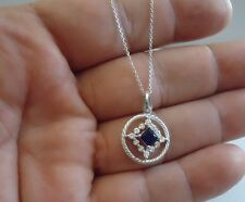 925 STERLING SILVER CIRCLE  NECKLACE  PENDANT W/ 1 CT SAPPHIRE & DIAMOND/18''