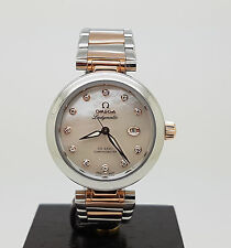 Mint Steel / Rose Sedna Gold Ladymatic De Ville Omega Co-Axial 34mm Ladies Watch