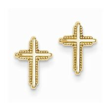 14 KT Yellow Gold Detailed CROSS Post Earrings Great For Gifts Child Teen NEW