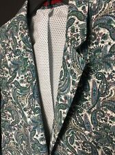 Alan Flusser MENS Jacket Blazer Sport Coat PAISLEY Blue Green Cotton Large L NEW