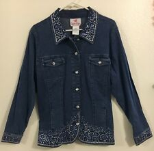 Quacker Factory Denim Jacket w/ Blue & Silver Studs Rhinestone Buttons  Sz L NWT