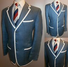 MENS 40 LINEN BLUE BOATING REGATTA COLLEGE ROWING BLAZER SUIT JACKET SPORT COAT
