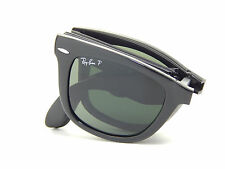 New Ray Ban Folding Wayfarer RB4105 601/58 Black/Green Polar 54mm Sunglasses