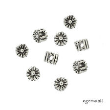 10 Bali Antique Sterling Silver Daisy Round Heishi Spacer Beads 3.3mm #99306
