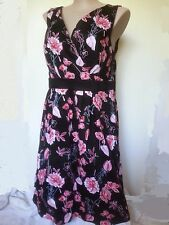 Autograph Black RED floral COTTON elastane cross front dinner party Dress 20 NEW