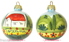 Italian Handpainted CHRISTMAS TREE ORNAMENT Toscana Handcrafted Ceramic Gift New