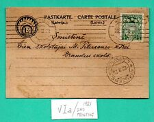 LATVIA LETTLAND CARD WITH 2 RUBLES STAMP USED RIGA TO SMILTENE 1922s 378