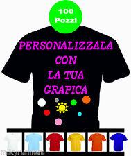100 Magliette T-shirt Nere Personalizzate con le vostre scritte loghi foto etc.