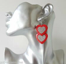 "Pretty 2"" long red & sparkly silver glitter double heart drop earrings"