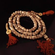 Tibetan 108 Yak Bone Eye Yoga Meditation Prayer Beads 3 Tassel Mala Necklace 24""