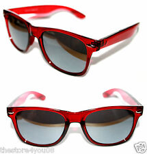 Wayfarer Sunglasses Crystal Red Clear Frame Silver Mirrored Lens 80's Retro 39