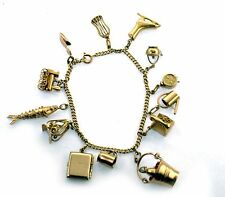 Vintage 50's Lucky Number 13 Movable CHARMS Charm Bracelet 14k and 18k Gold