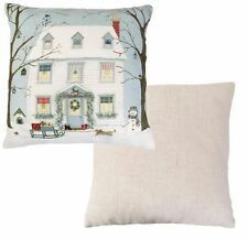 EVANS LICHFIELD CHRISTMAS SNOW HOUSE SLEDGE SNOWMAN RED MADE IN UK CUSHION 43CM