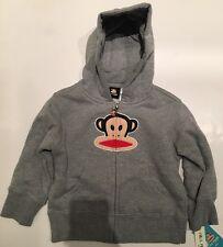 NWT Small Paul Frank Boy Grey Cotton Julius Monkey Hoodie Sweatshirt 2 2T