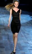 LANVIN Black Draped Silk ete 2006 dress suit, sz 42 / 10, $2995