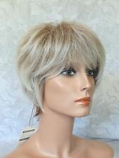 Short Layered Ombre Light Ash Brown/Off White/Dk Brown Full Synthetic Wig - #44