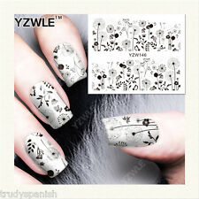 Nail Art Water Decals Full Wraps Black Dandelions Flowers Gel Polish 8146