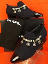 NIB CHANEL NAVY TWEED SILVER CHARMS CHAIN BLACK PATENT CAP TOE SHORT BOOTS 40.5