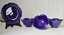H.I.C.  Cobalt Blue  Lotus Shaped Small Plates and Bowls.  Set of 4.