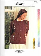 Vintage Emu Knitting Pattern Ladies DK Textured Cardigan, Sml, Med, Lg Loose Fit