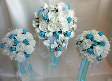 White & Turquoise Rose Heart Shaped Wedding Bouquet Set Crystal Spray & Diamante