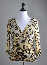 KAY UNGER New York $120 Mesh Stretch Leopard Print Knotted Lined Top Size XL