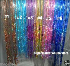 "6 Colors 18"" Clip-In hair extension Hair tinsel rainbow shinning hair Extensions"