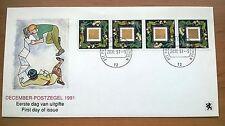 NVPH 1487 Decemberzegel (strip van 4) op speciaal 1e dag cover
