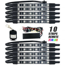 10pc Motorcycle 6 LED Under Glow Light Kit Multi-Color Neon Strip Remote Control