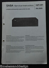 SABA Service Instruction PA 2000 / HiFi 281 Schaltplan Service Manual