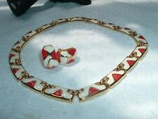 VINTAGE CREME AND CORAL ENAMEL EGYPTIAN REVIVAL CHOKER NECKLACE N EARRINGS SET