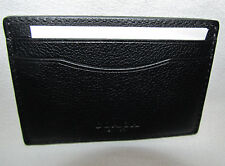 New Mens Coach Black Leather Credit Card Slim Money Clip Wallet