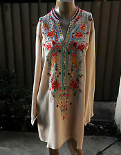 NWT JOHNNY WAS Sz L, XL Beige  Embroidered Long Tunic Top
