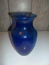"""Vintage Cobalt Blue Glass Flower Vase stands 7-3/4"""" Tall flare top"""