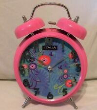 "Loud Twin Bell Alarm Clock Unique Fushia Body Floral Face 5"" Battery Operated"