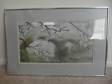 Watercolor and Charcoal Painting of Fog en-shrouded Bridge with Cherry Blossoms