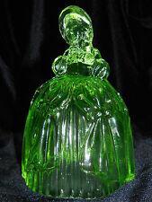 Green Vaseline glass Colonial Marguerite Doll Figurine uranium princess dress NR