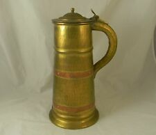 Large Hammered Brass Copper Tankard Flagon Russia Turkey Dovetailed Signed