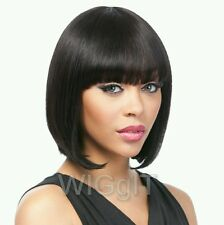 100% REMI BLAIR | NATURAL BLACK | HUMAN HAIR SHORT STRAIGHT WIG WITH BANGS