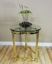 Vtg Mid Century Clover Glass Top Brass Stand Side End Table Hollywood Regency