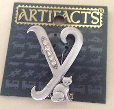 New In Package  Artifacts Silver Y Initial Cat  Brooch/Pin
